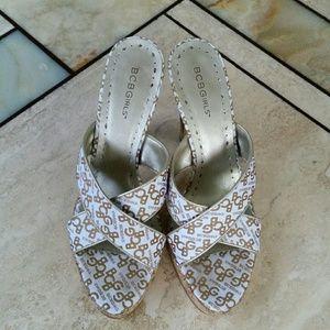 BCBG White Sandal Heels 9.5